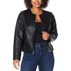 Colleen Lopez Faux Leather Jacket with Criss Cross Detail