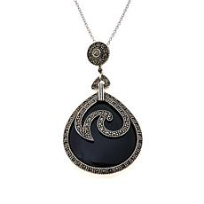 Colleen Lopez Gem and Marcasite Pendant with Chain