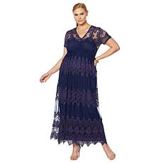 Colleen Lopez Lace Mesh Maxi Dress with Under Slip