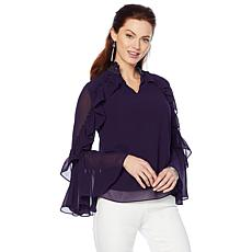 Colleen Lopez Long-Sleeve Beaded Ruffle Top