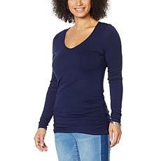 Colleen Lopez Long-Sleeve Knit Top with Ruched Sides