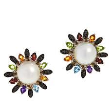 Colleen Lopez Mabé Pearl and Multi-Gemstone Earrings