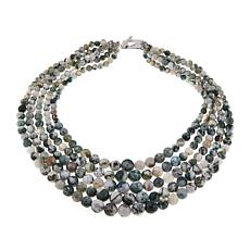 "Colleen Lopez Moss Agate Bead 5-Strand 18-3/4"" Necklace"