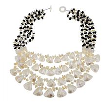 "Colleen Lopez Mother-of-Pearl and Onyx 22"" Multi-Strand Necklace"