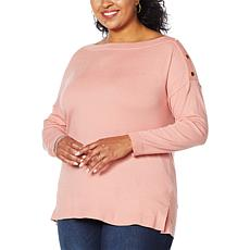 Colleen Lopez One-Shoulder Button Pullover Sweater