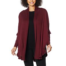 Colleen Lopez Open Front Ruffle Poncho Sweater
