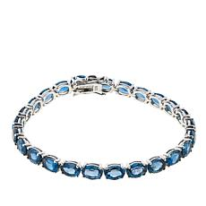 Colleen Lopez Oval London Blue Topaz Sterling Silver Line Bracelet
