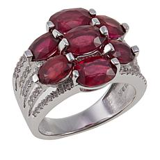 Colleen Lopez Oval Ruby and White Zircon 7-Stone Sterling Silver Ring
