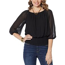 Colleen Lopez Peasant Blouse with Smocked Waist - Basic