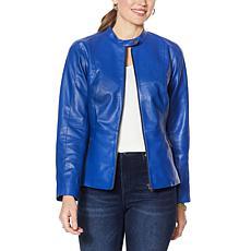 Colleen Lopez Peplum Faux Leather Jacket