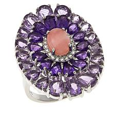 Colleen Lopez Pink Opal and Multigemstone Sterling Silver Oval Ring