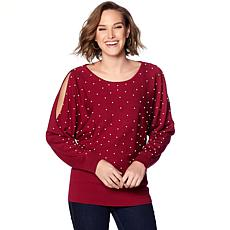 Colleen Lopez Playfully Posh Slit-Shoulder Dolman Sweater