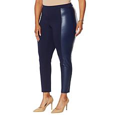 Colleen Lopez Ponte Slim Pant with Faux Leather Panels
