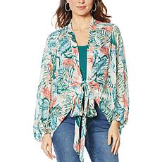 Colleen Lopez Printed Tie-Front Topper