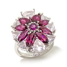 Colleen Lopez Rhodolite and Rose Quartz Cluster Ring