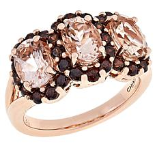 Colleen Lopez Rose Gold-Plated Morganite and Brown Zircon Ring
