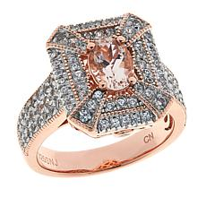 Colleen Lopez Rosetone Sterling Silver Morganite and White Zircon Ring
