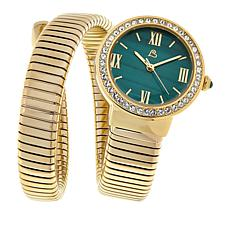 Colleen Lopez Round Gemstone Dial Coil Wrap Bracelet Watch