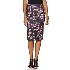 Colleen Lopez Scuba Pencil Skirt with Paneling Detail