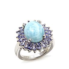 "Colleen Lopez ""Serene"" Larimar and Tanzanite Frame Ring"