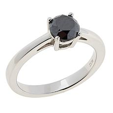 Colleen Lopez Sterling Silver 1ct Black Diamond Solitaire Ring