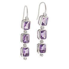 Colleen Lopez Sterling Silver Amethyst and White Topaz Drop Earrings