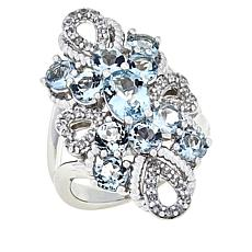 Colleen Lopez Sterling Silver Aquamarine and White Zircon Ring