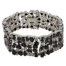 Colleen Lopez Sterling Silver Black Spinel and White Zircon Bracelet