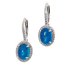 Colleen Lopez Sterling Silver Blue Opal and White Zircon Earrings