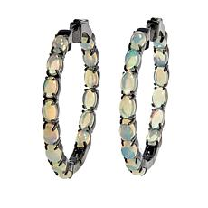 Colleen Lopez Sterling Silver Ethiopian Opal Hoop Earrings