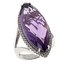 Colleen Lopez Sterling Silver Marquise-Cut Amethyst Ring