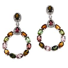 Colleen Lopez Sterling Silver Multi-Color Tourmaline Drop Earrings
