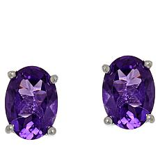 Colleen Lopez Sterling Silver Oval Gemstone Stud Earrings