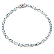 Colleen Lopez Sterling Silver Oval Gemstone Tennis Bracelet