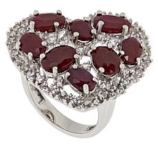 Colleen Lopez Sterling Silver Ruby and White Zircon Heart Ring