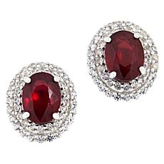 Colleen Lopez Sterling Silver Ruby and White Zircon Stud Earrings
