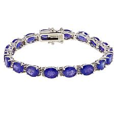 Colleen Lopez Sterling Silver Tanzanite & White Zircon Tennis Bracelet