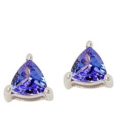 Colleen Lopez Sterling Silver Triangular Tanzanite Stud Earrings