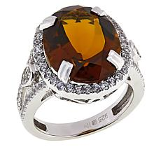 Colleen Lopez Sterling Silver Whiskey Quartz and White Topaz Ring