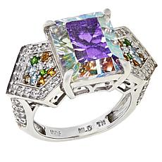 Colleen Lopez Sterling Silver White Rainbow Quartz and Multi-Gem Ring