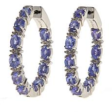 Colleen Lopez Tanzanite and White Zircon Inside-Outside Hoop Earrings