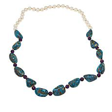 Colleen Lopez Turquoise, Amethyst & Cultured Freshwater Pearl Necklace