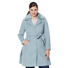 Colleen Lopez Woven Coat with Removable Faux Fur Collar