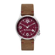 Columbia Men's Canyon Ridge Texas A&M Saddle Leather Strap Watch