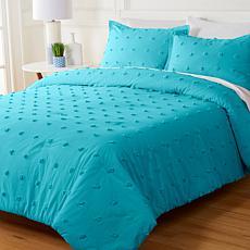 Concierge Collection 100% Cotton Tufted Dot Comforter Set