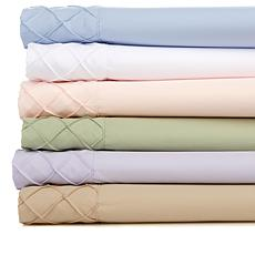 Concierge Collection 4-piece Diamond Pintuck Hem Sheet Set