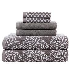 Concierge Collection 6-piece 100% Turkish Cotton Jacquard Towel Set
