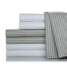 Concierge Collection Stripe and Solid 2pk Sheet Set