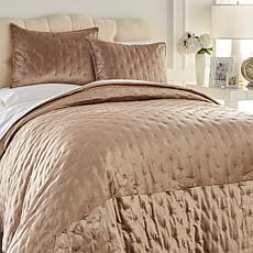 Concierge Platinum 3pc Velvet Coverlet Set