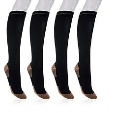 Copper Fit Knee-High Compression Socks 4-pack